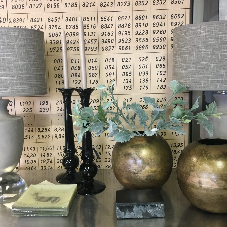 Artois Candle Holders & iron orb vase