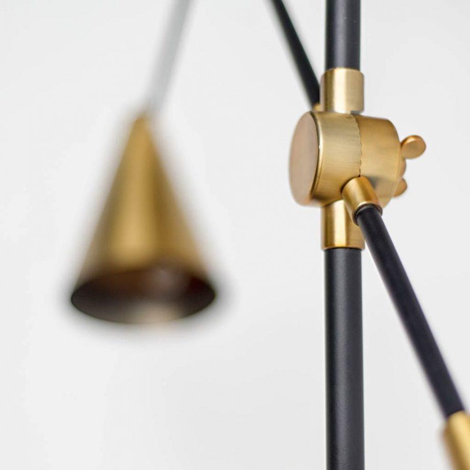 Pelham Black and Brass Easel Floor Lamp