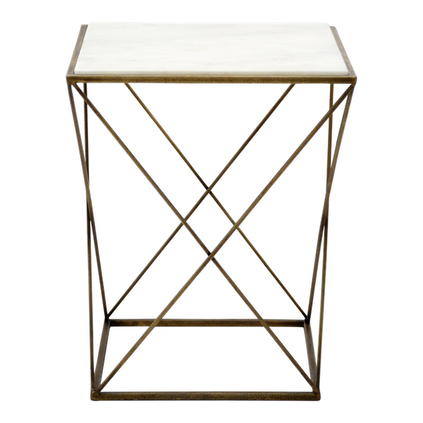 Marble top end table with criss-cross metal base