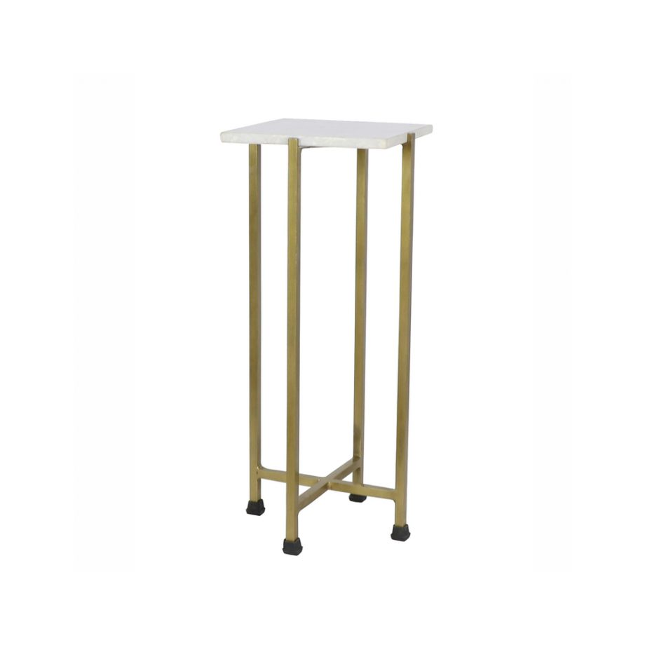 Shimmer brass side table with white marble top
