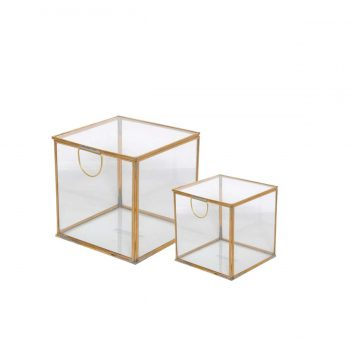 cube brass and glass decor box