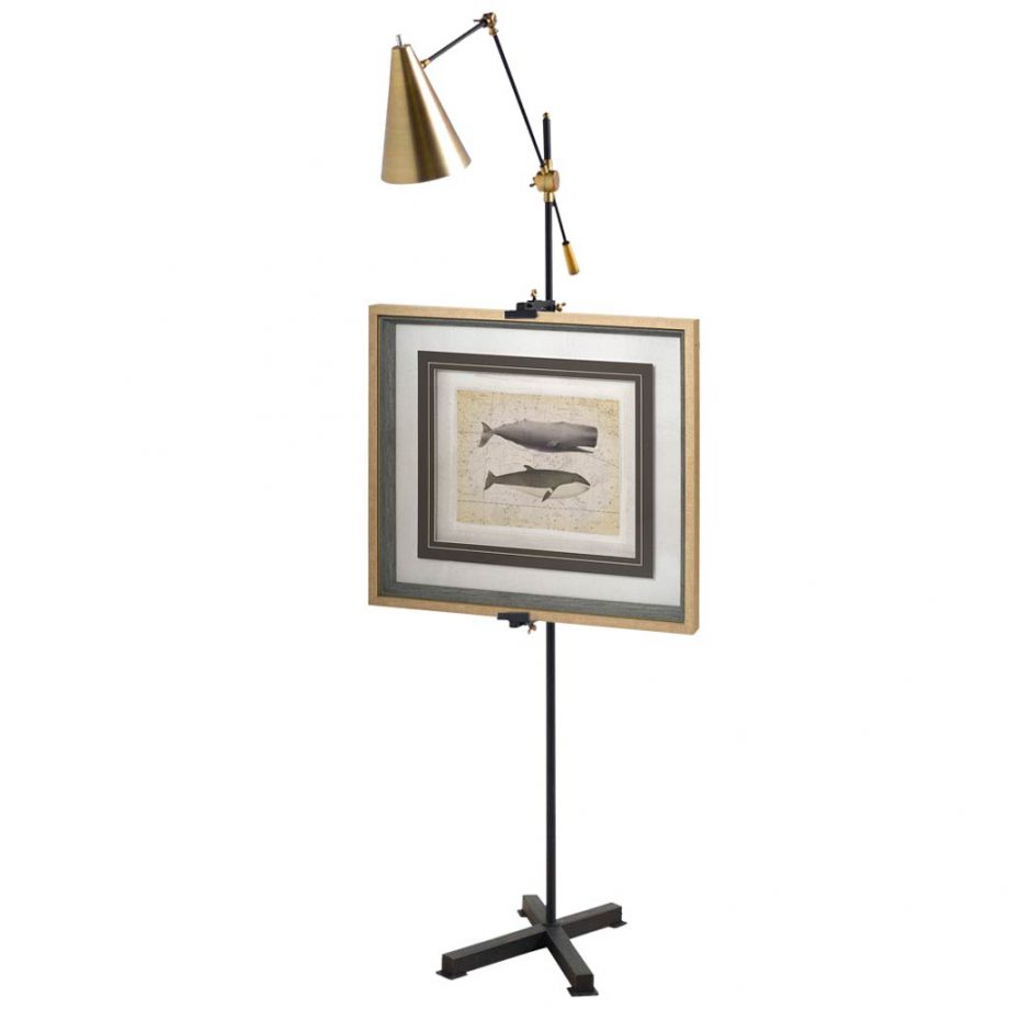 Pelham Black and Brass Easel Floor Lamp
