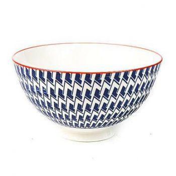 Geometric blue white and orange porcelain bowl