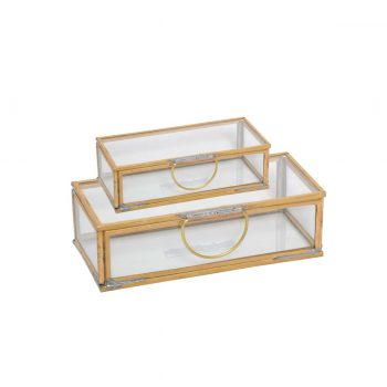 rectangular brass and glass decor box