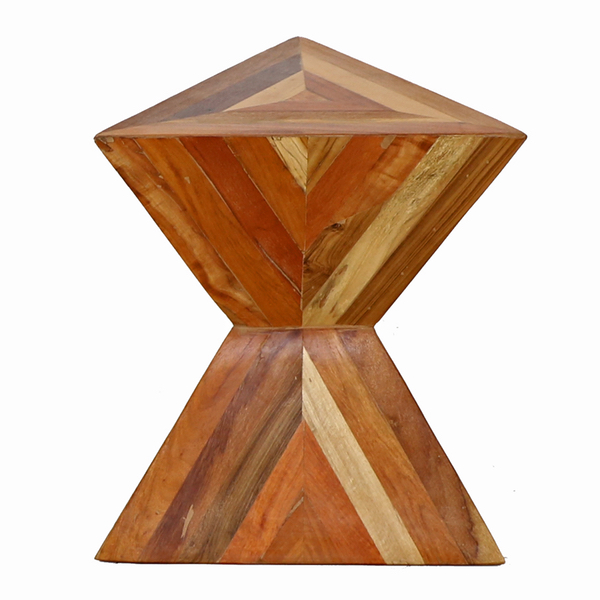 Giza Wood Double Pyramid Angled Side Table