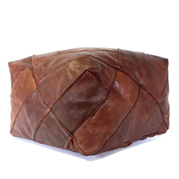 Distressed Brown Leather Pouf