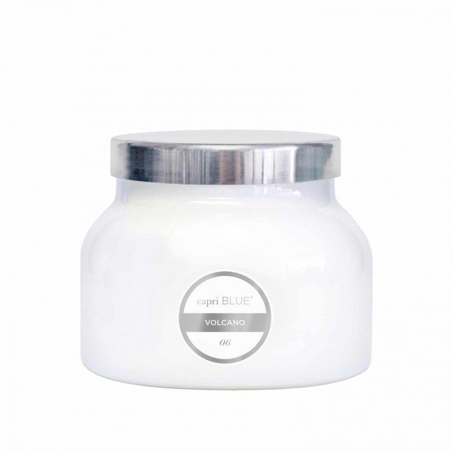 capri BLUE Volcano Candle White Jar