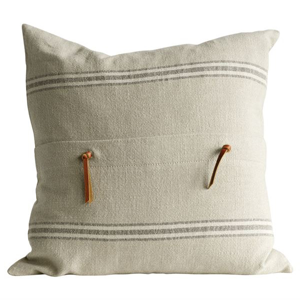 Beige striped Pillow with Leather Tassels