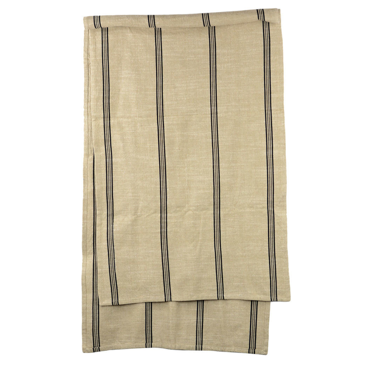 Beige cotton table runner with black stripes