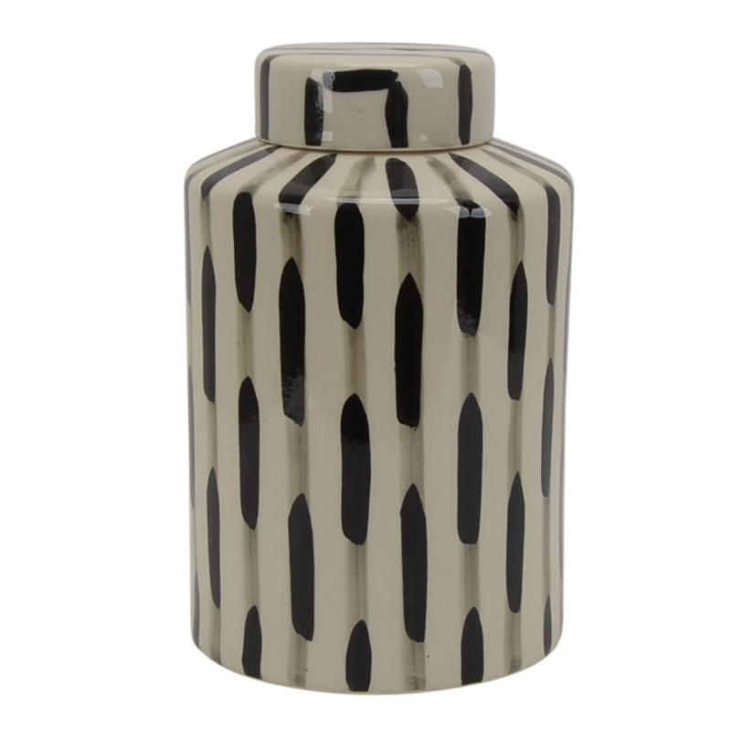 Black and white ceramic vase with lid