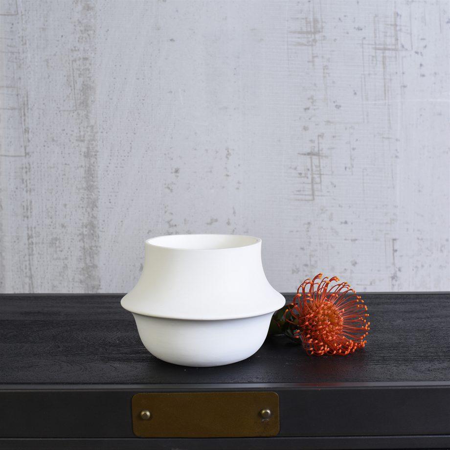 White Ceramic Saucer Vase