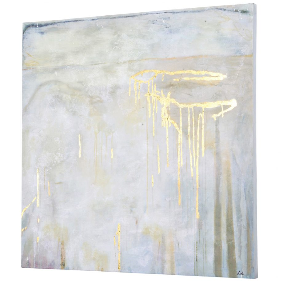 Abstract Art With Gold Accents on Wood