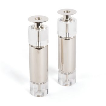 Clear Acrylic and Silver Cylinder Taper Candle Holders