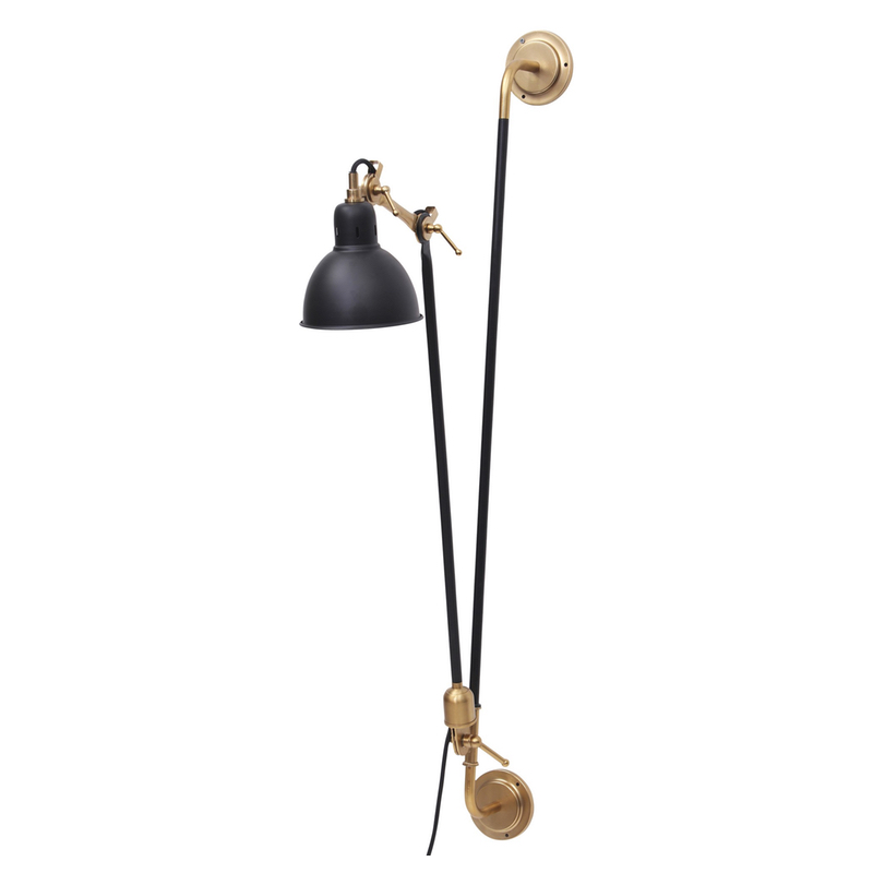Contemporary Black and Brass Arm Wall Sconce