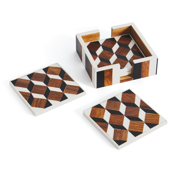 Geometric Bone and Wood Coaster Set