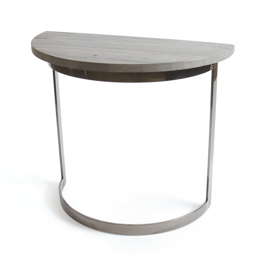 Half Moon Wood Entry Table Silver Base