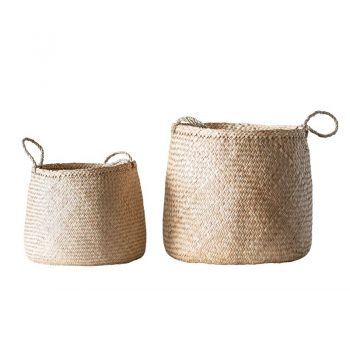 Light Woven Seagrass Basket with Handles