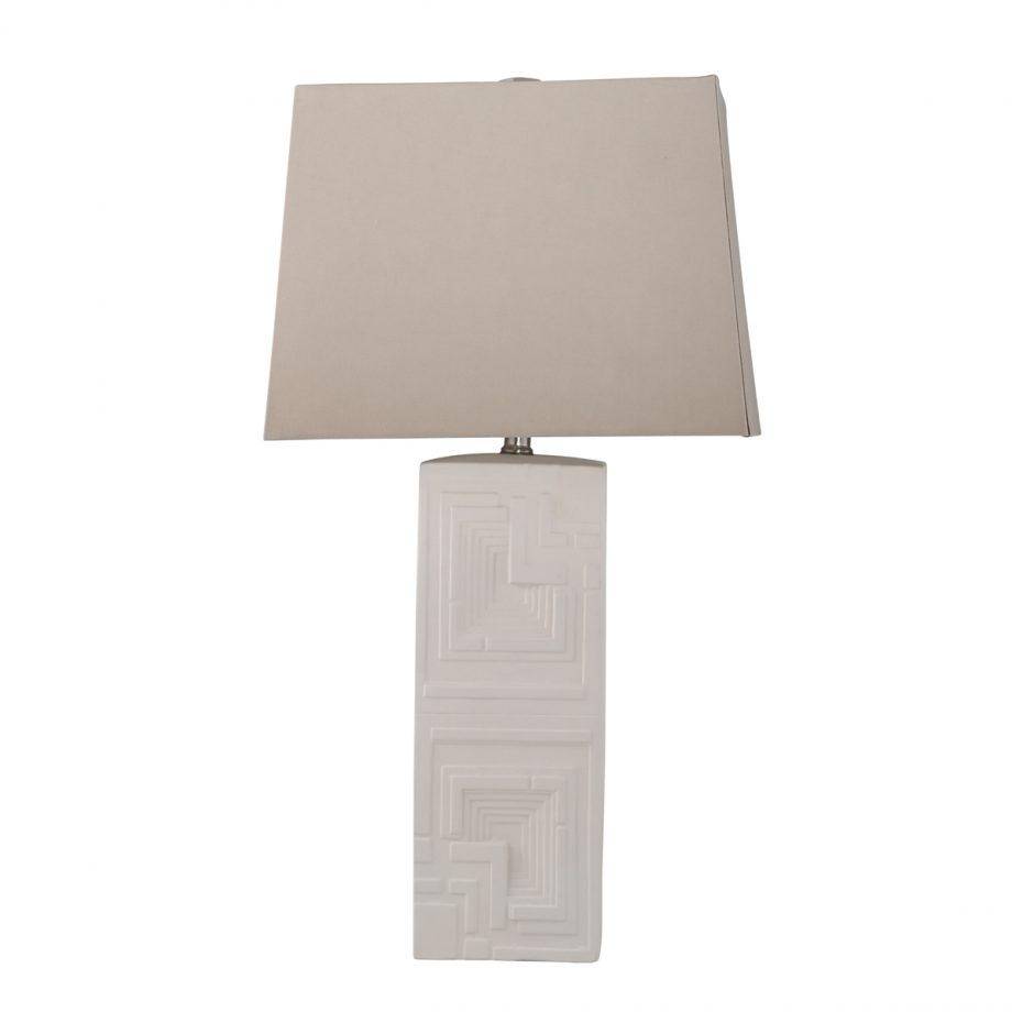Art Deco White Ceramic Table Lamp