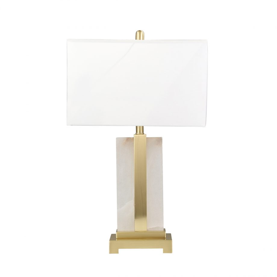 Brass and Alabaster Flat Table Lamp