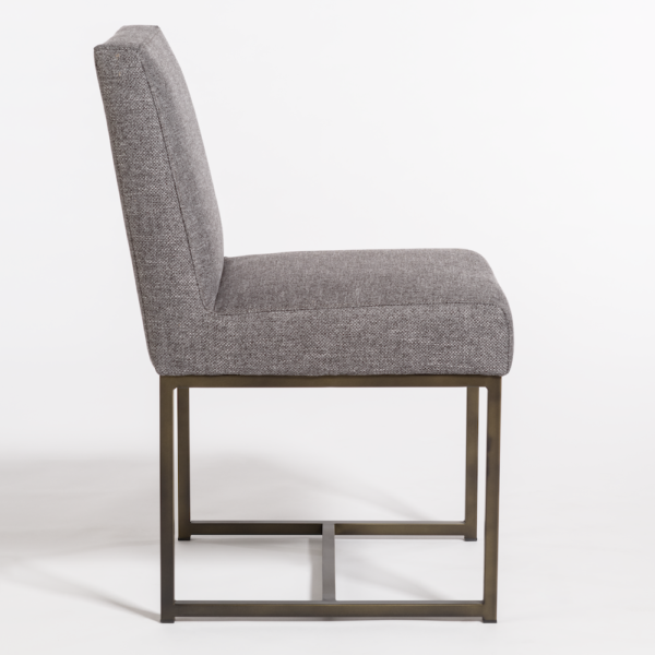 Gray Upholstered Dining Chair on Open Bronze Base