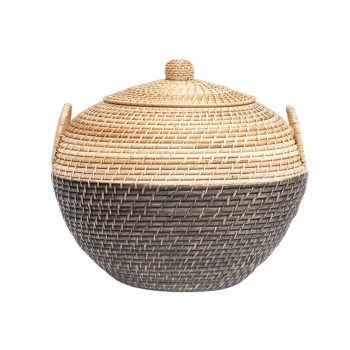 Black and natural woven rattan basket