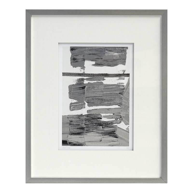 Black White and Gray Paint Smear Art