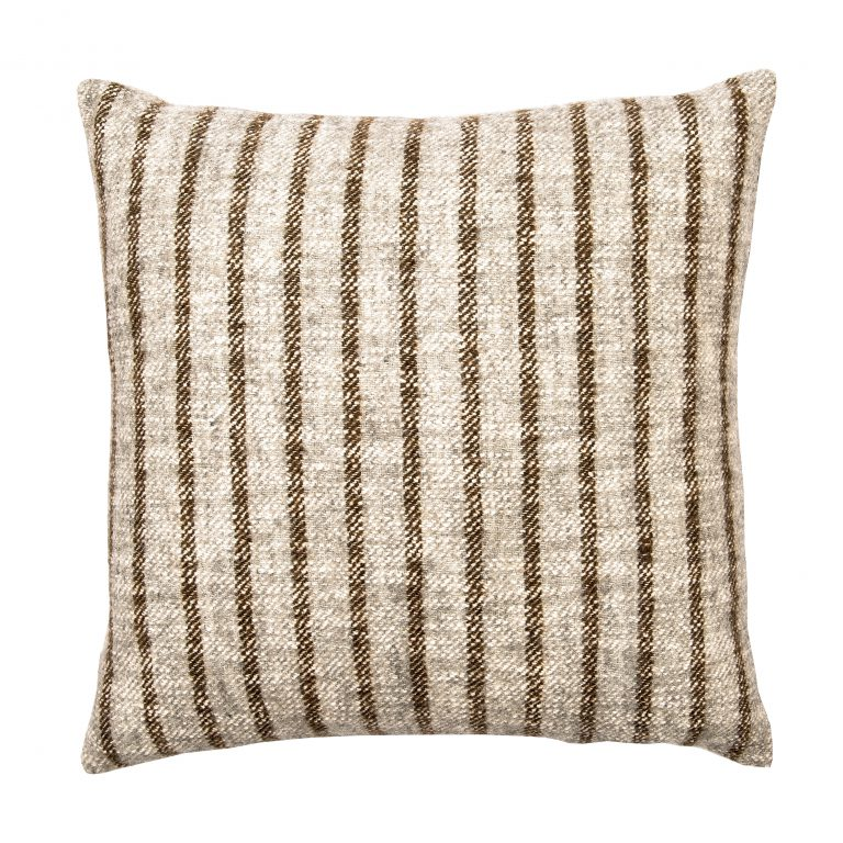 Brown and Cream Striped Pillow