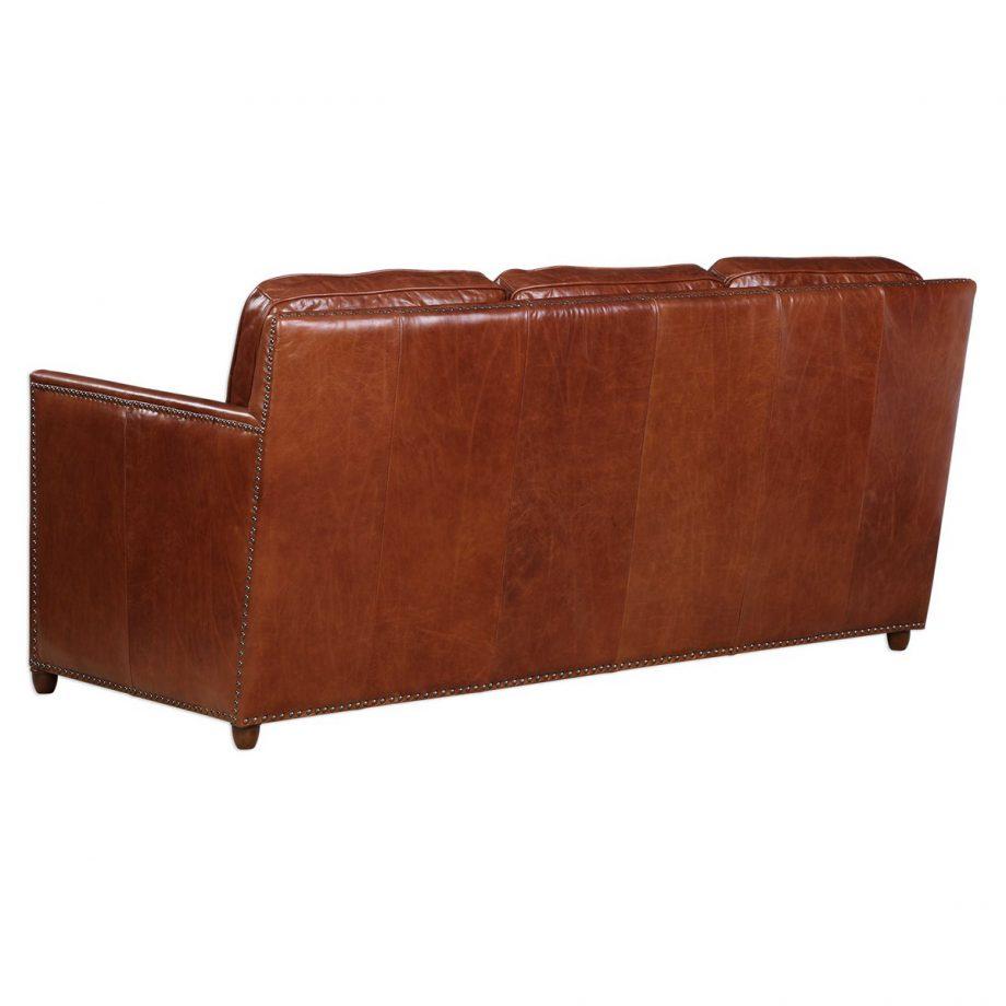 Brown leather three seat sofa with nailhead