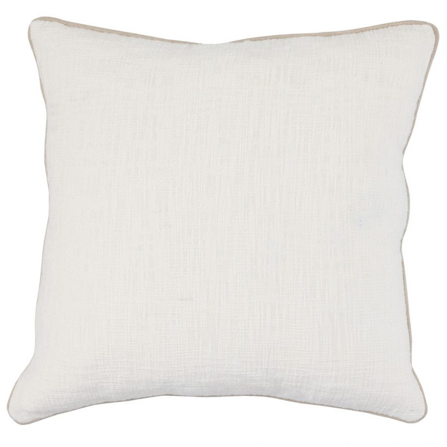 Cream Pillow with Brown Piping