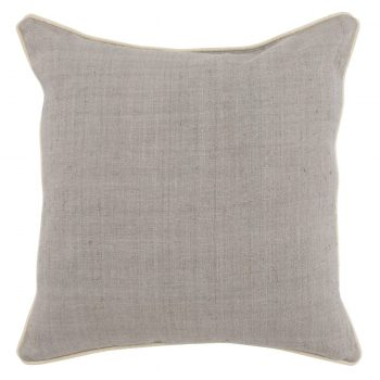 Gray Silk Pillow with Beige Piping