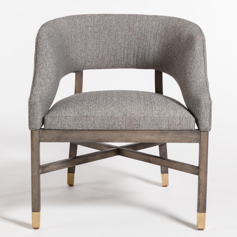 Gray Tweed Distressed Beachwood Dining Chair