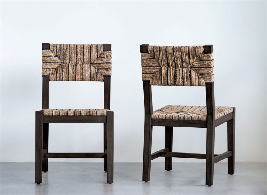 Mango wood dining chair with natural and blue striped woven rope back and seat