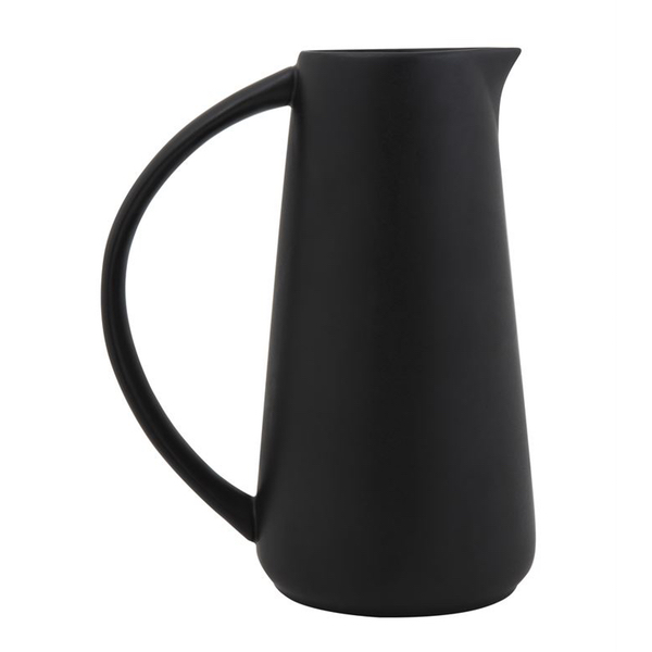 Matte Black Stoneware Pitcher