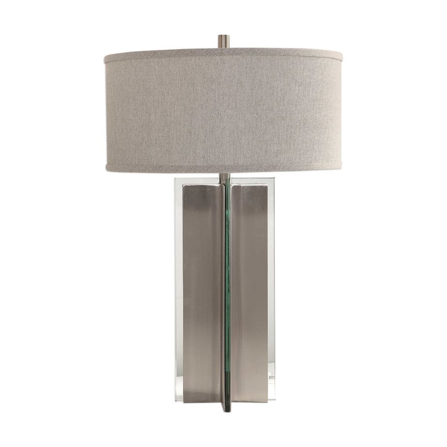 Metal beam shaped contemporary table lamp with slabs of glass