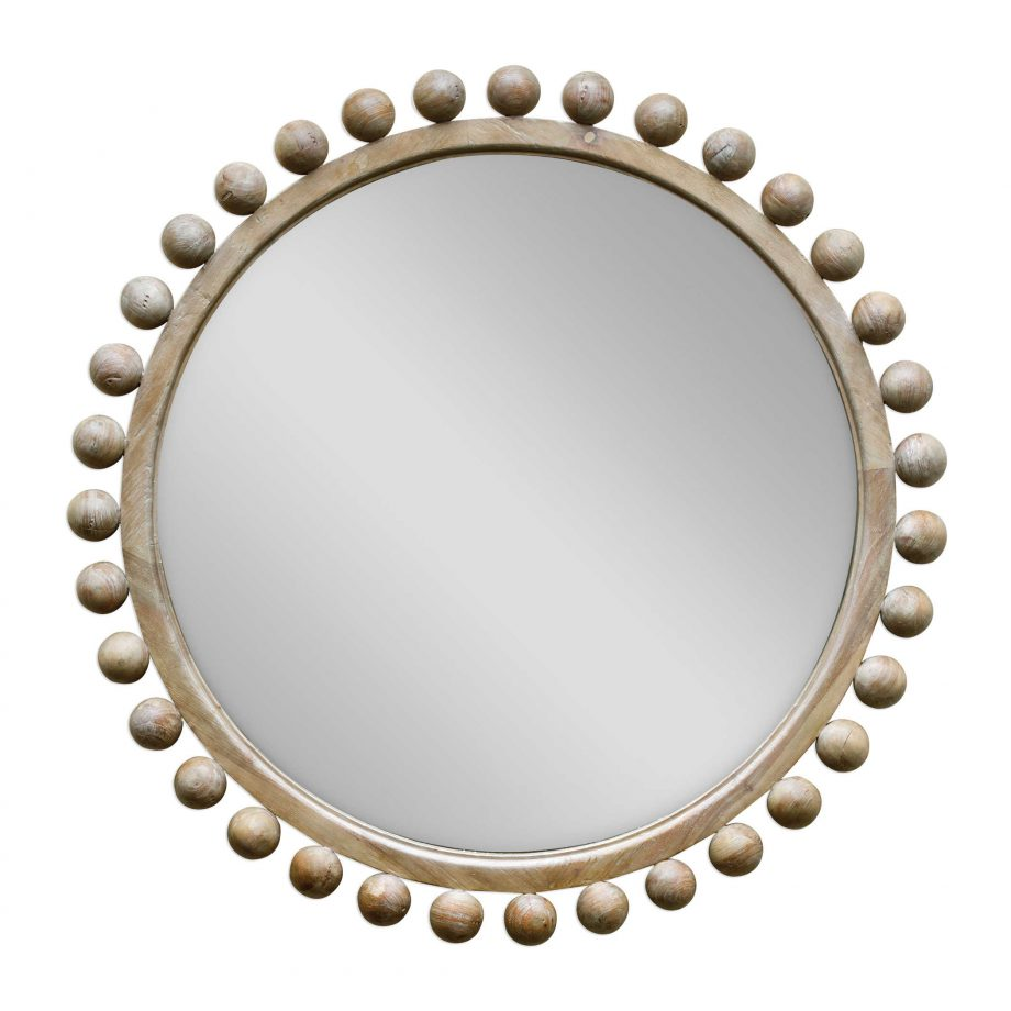 Natural Wood Mirror With Wood Spheres Around Edges