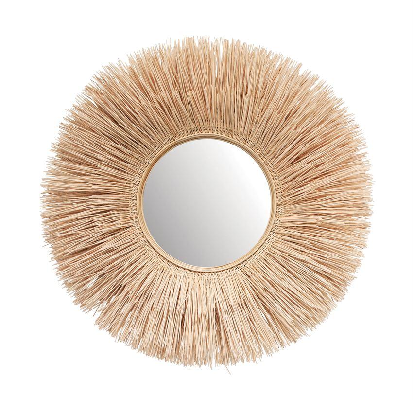 Round Burst Bleached Wicker Wall Mirror