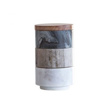 White, tan and black marble stacking pinch dishes with wood lid