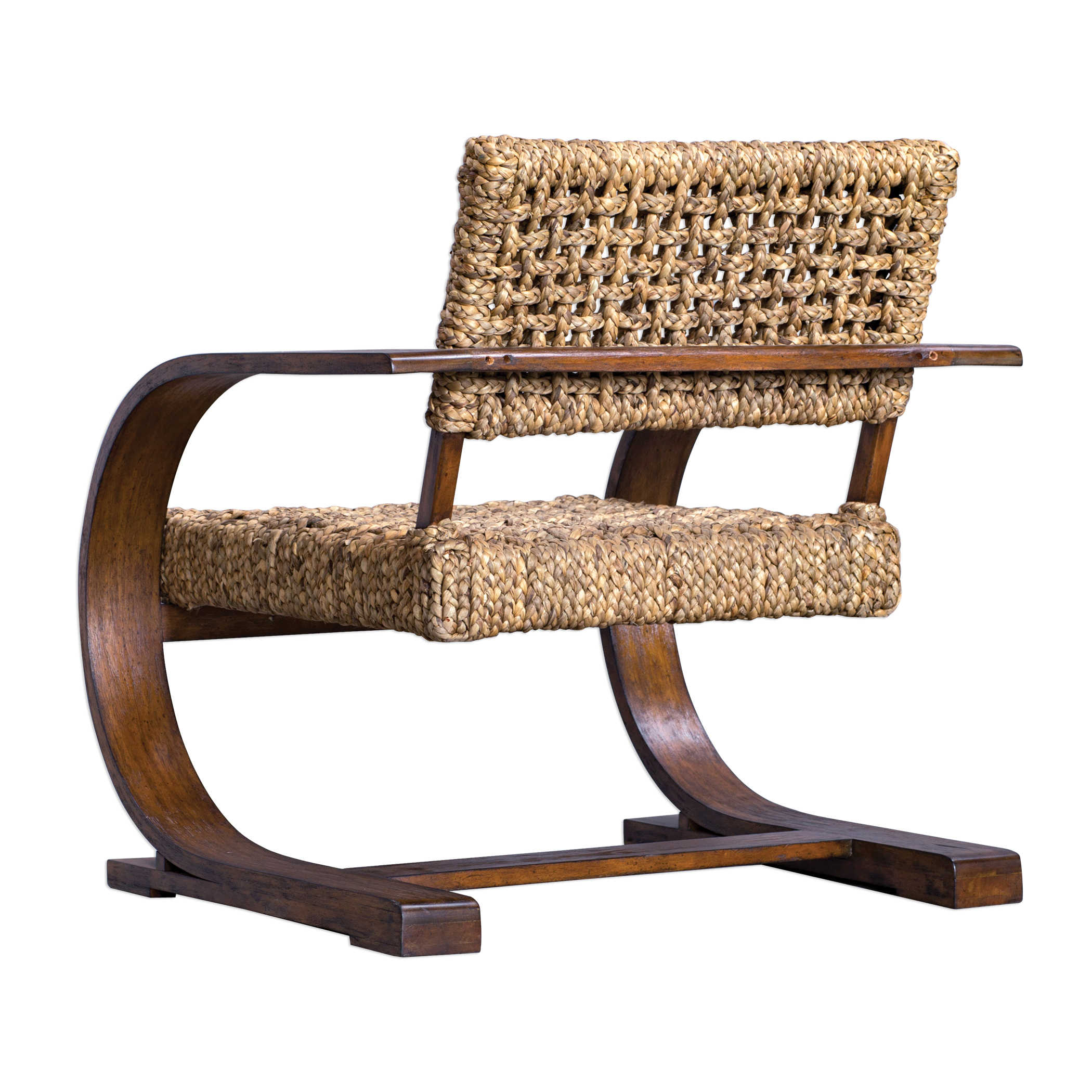 Cannes Woven Accent Chair: Woven Fiber And Wood Accent Chair