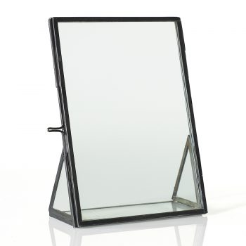 Angled black metal picture frame with clasp