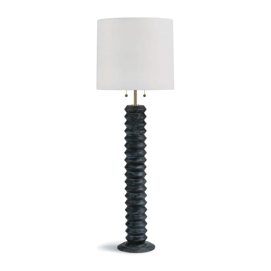 Black Wood Accordion Shape Floor Lamp