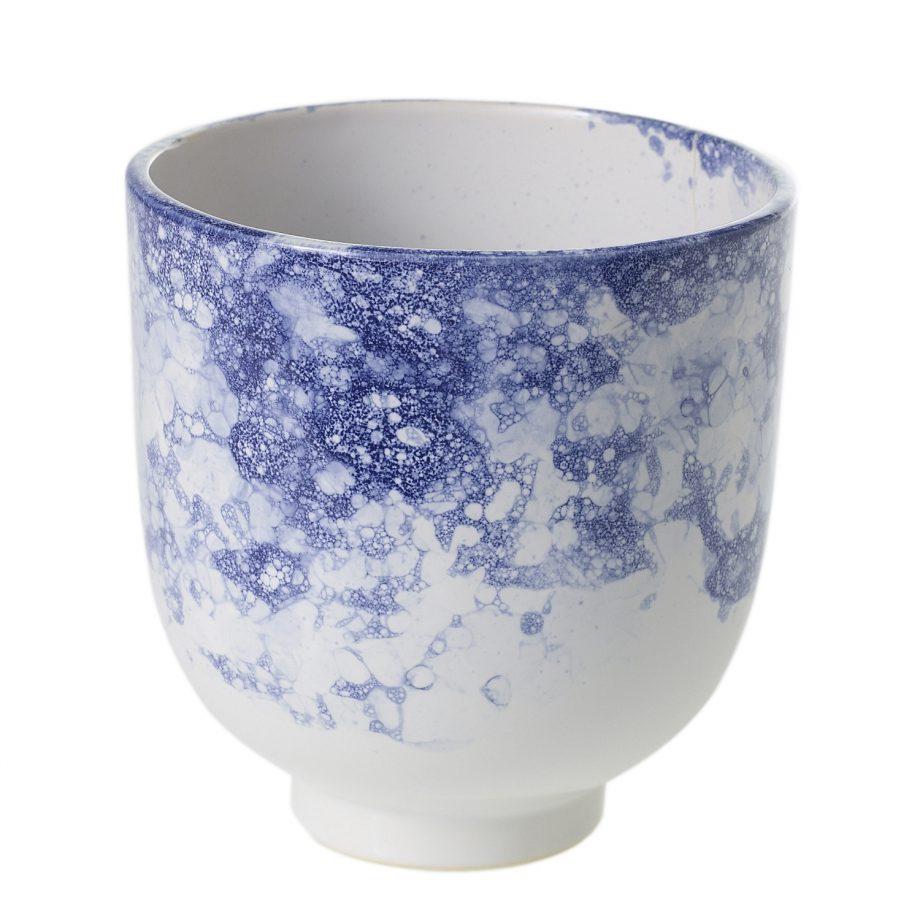 Blue and white soap bubble ceramic vase