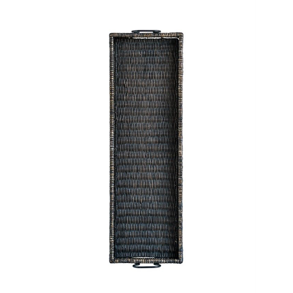 Long black rectangle rattan tray