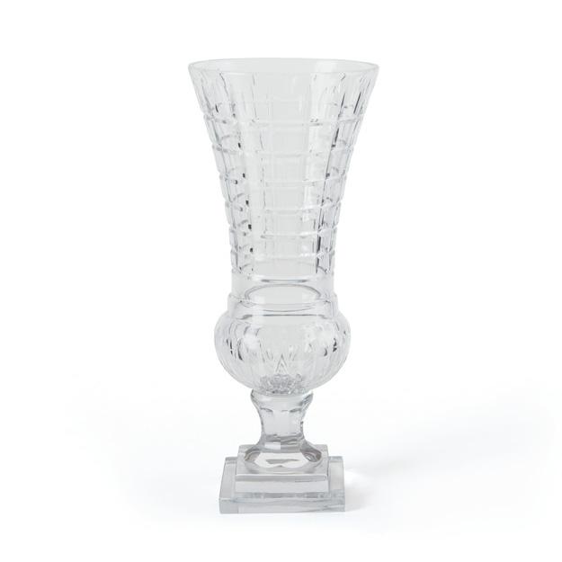 Etched glass urn vase on pedestal