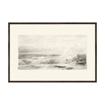 Graphite ocean waves pencil drawing