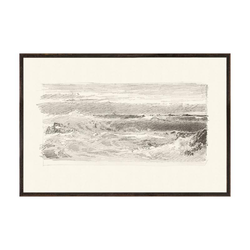 Graphite ocean waves pencil drawing