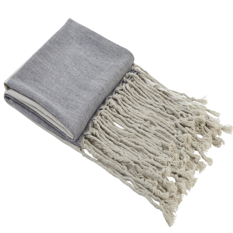 Natural And Blue Linen Throw With Fringe