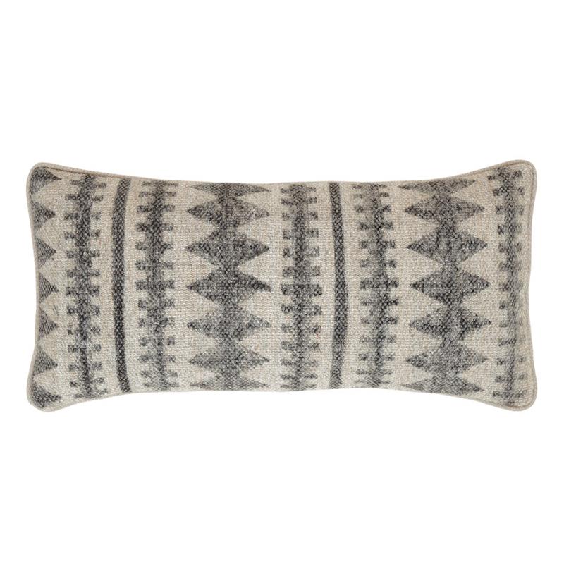 Natural And Gray Diamond Pattern Lumbar Pillow