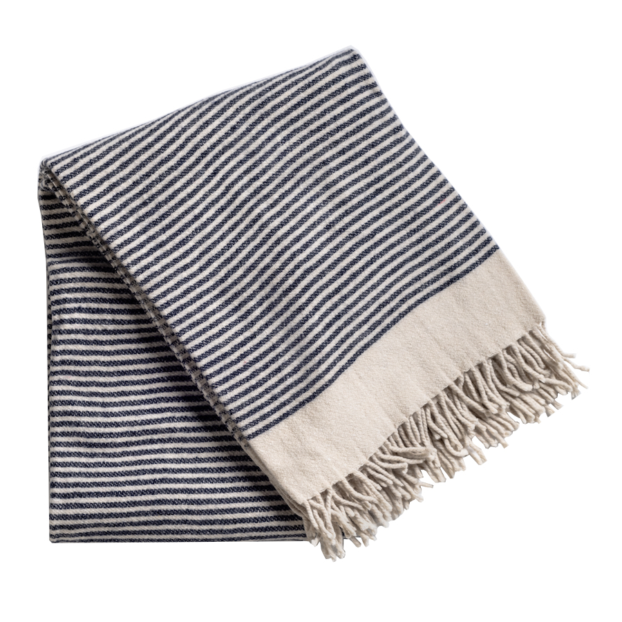 Blue and oatmeal striped throw