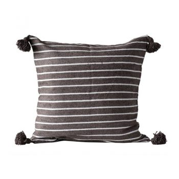Brown And White Striped Tassel Pillow