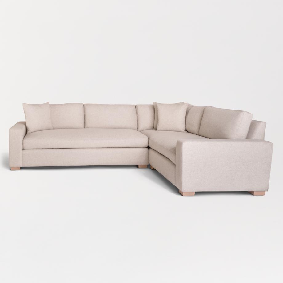Oatmeal tweed sectional sofa with beechwood legs